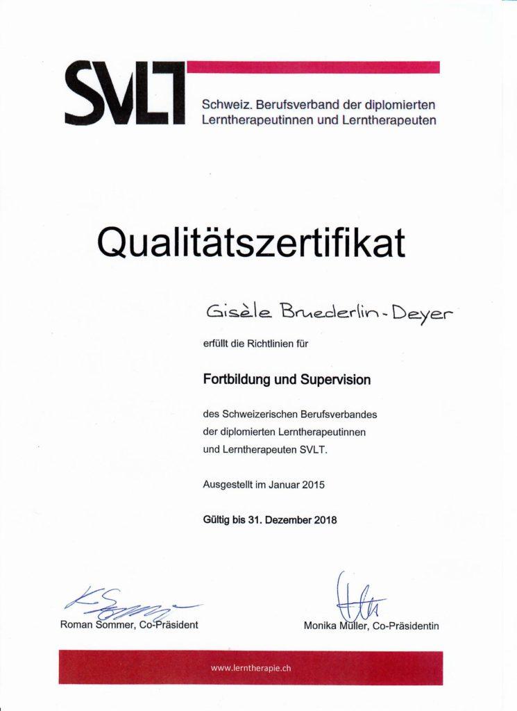Qualitätszertifikat des SVLT mit Gültigkeit bis 2018